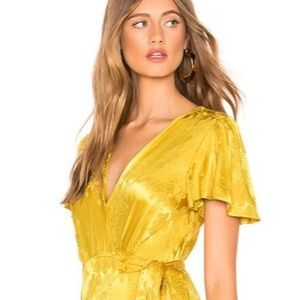 New Tularosa Golden Yellow Floral Wrap Crop Top